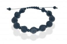 Onyxkugeln auf Textilband, eine davon mit 118 schwarzen Brillanten besetzt. ca.€ 679.-