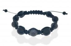 Onyxkugeln auf Textilband, eine Kugel mit braunen Brillanten besetzt, zwei mit schwarzen Brillanten versehen. ca.€ 1625.-